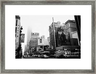 empire state building shrouded in mist from west 34th Street and 7th Avenue King Kong movie poster Framed Print by Joe Fox