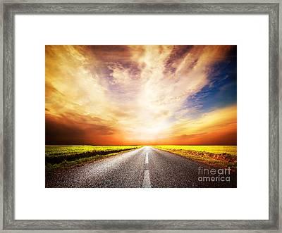 Empty Asphalt Road. Sunset Sky Framed Print by Michal Bednarek