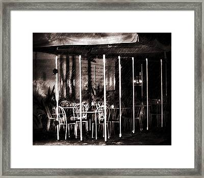 Empty Chairs And Empty Tables - Soft Sepia Vintage Framed Print by Georgiana Romanovna
