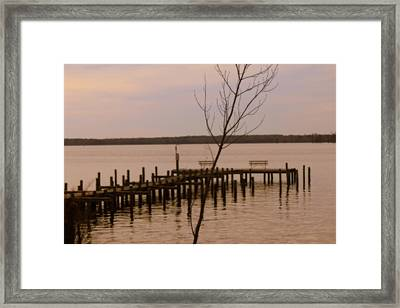 Empty Pier Framed Print by Carolyn Ricks