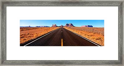 Empty Road, Clouds, Blue Sky, Monument Framed Print by Panoramic Images