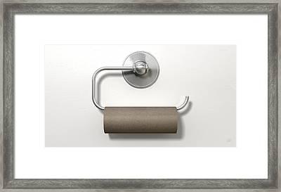 Empty Toilet Roll On Chrome Hanger Framed Print by Allan Swart