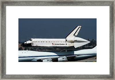 Endeavor Taxi's In Lax After Final Flight Framed Print by Denise Dube