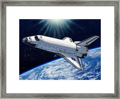 Endeavour In Space Framed Print by Stu Shepherd