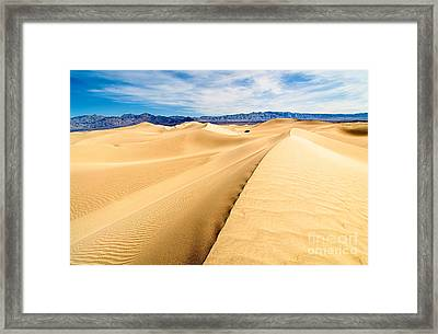 Endless Dunes - Panoramic View Of Sand Dunes In Death Valley National Park Framed Print by Jamie Pham