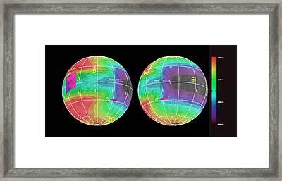 Energy Deposited On Europa Framed Print by Nasa/jpl-caltech/univ. Of Ariz./jhuapl/univ. Of Colo.