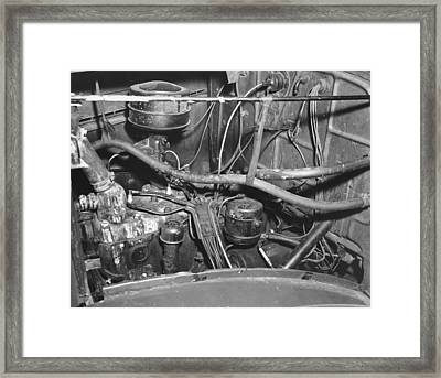 Engine Compartment Of A Car Framed Print by Underwood Archives