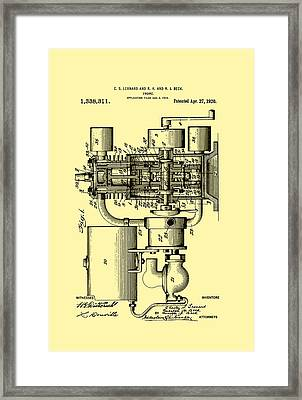 Engine Patent 1920 Framed Print by Mountain Dreams