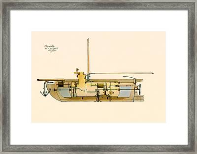 Engineering Design For A Submarine 1806 Framed Print by Mountain Dreams