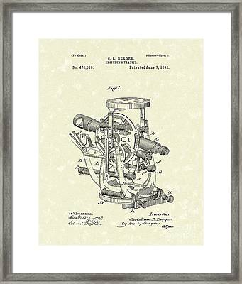 Engineer's Transit 1892 Patent Art Framed Print by Prior Art Design