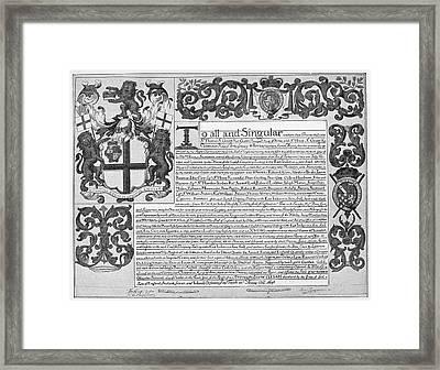 England Trade Charter Framed Print by Granger