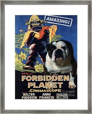 English Bulldog Art Canvas Print - Forbidden Planet Movie Poster Framed Print by Sandra Sij