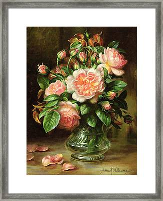 English Elegance Roses In A Glass Framed Print by Albert Williams