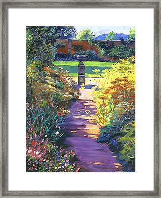 English Garden Urn Framed Print by David Lloyd Glover