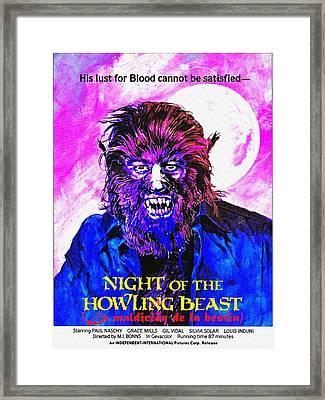 English Usa Poster Of La Maldicion De La Bestia Framed Print by Art Cinema Gallery