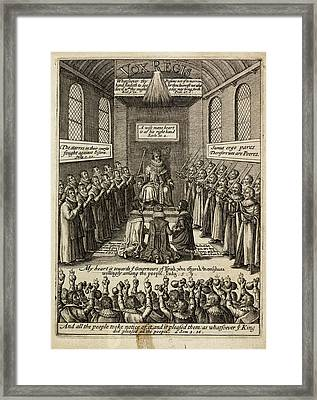 Engraving Of A King Enthroned Framed Print by British Library