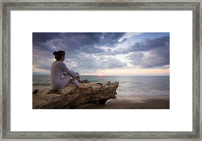Enjoing The Sunset Framed Print by Aged Pixel