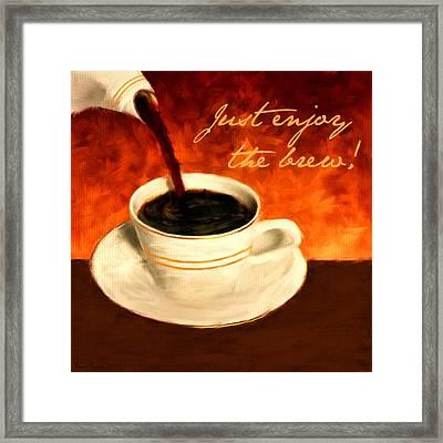 Enjoy The Brew Framed Print by Lourry Legarde