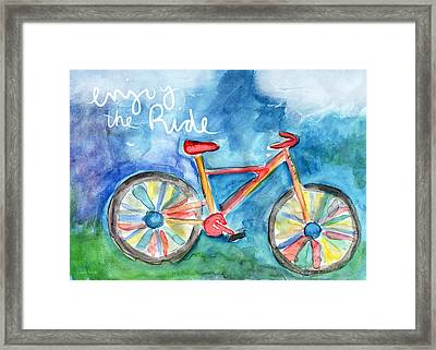 Enjoy The Ride- Colorful Bike Painting Framed Print by Linda Woods