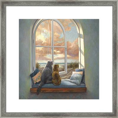 Enjoying The View Framed Print by Lucie Bilodeau