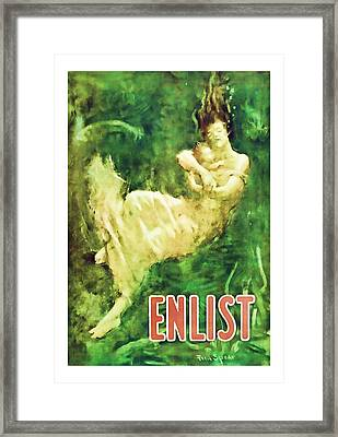Enlist World War 1 Enlistment Art Framed Print by Presented By American Classic Art