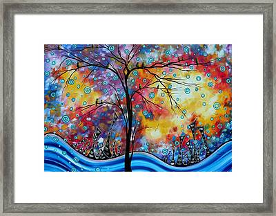 Enormous Whimsical Cityscape Tree Bird Painting Original Landscape Art Worlds Away By Madart Framed Print by Megan Duncanson