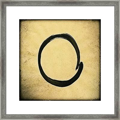 Enso #4 - Zen Circle Abstract Sand And Black Framed Print by Marianna Mills