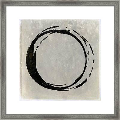 Enso No. 107 Black On Taupe Framed Print by Julie Niemela