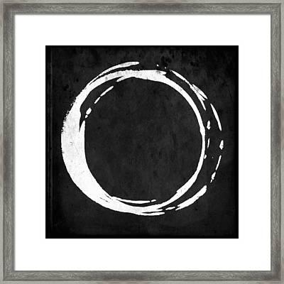 Enso No. 107 White On Black Framed Print by Julie Niemela