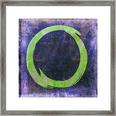 Enso No. 108 Green On Purple Framed Print by Julie Niemela