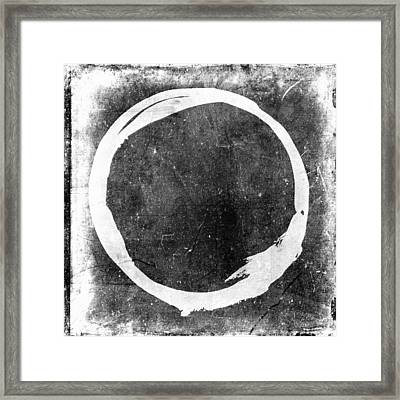 Enso No. 109 White On Black Framed Print by Julie Niemela