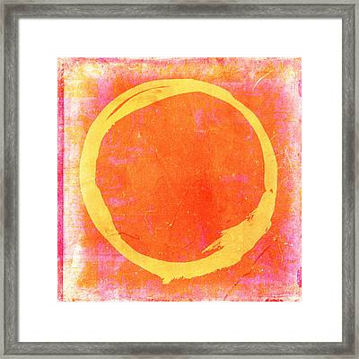 Enso No. 109 Yellow On Pink And Orange Framed Print by Julie Niemela