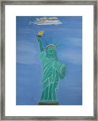 Enterprise On Statue Of Liberty Framed Print by Vandna Mehta