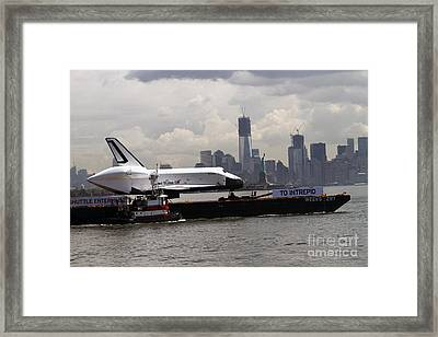 Enterprise To The Intrepid Air And Space Museum Framed Print by Steven Spak