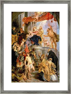 Enthroned Madonna With Child Encircled By Saints Framed Print by Rubens
