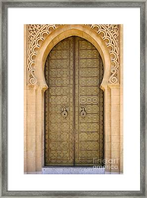 Entrance Door To The Mausoleum Mohammed V Rabat Morocco Framed Print by Ralph A  Ledergerber-Photography