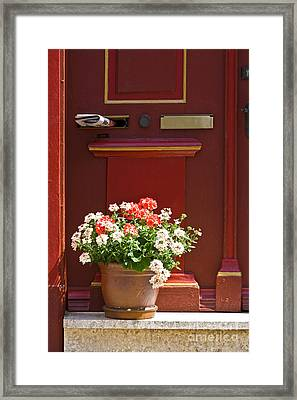Entrance Door With Flowers Framed Print by Heiko Koehrer-Wagner