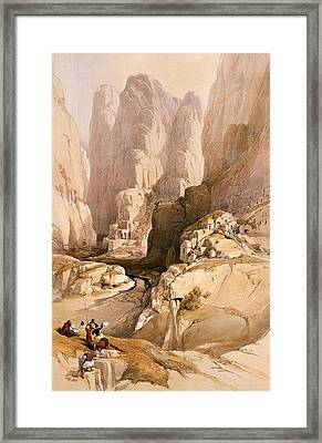 Entrance To Petra Framed Print by David Roberts