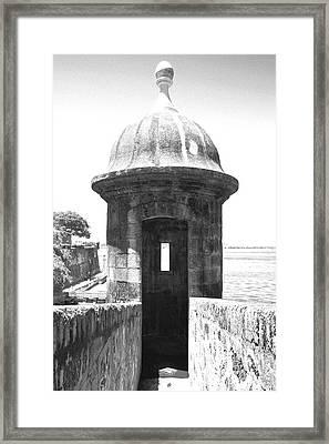 Entrance To Sentry Tower Castillo San Felipe Del Morro Fortress San Juan Puerto Rico Bw Film Grain Framed Print by Shawn O'Brien
