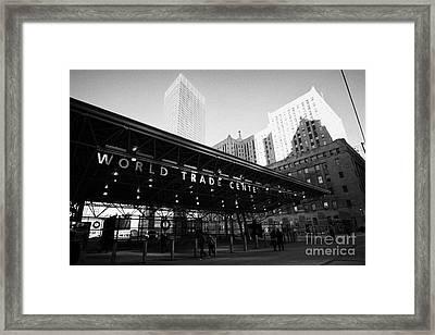 Entrance To The Rebuilt Path Train Station Ground Zero World Trade Center Site New York City Framed Print by Joe Fox