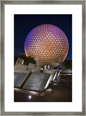 Epcot Spaceship Earth Framed Print by Adam Romanowicz