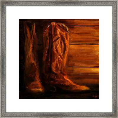 Equestrian Boots Framed Print by Lourry Legarde