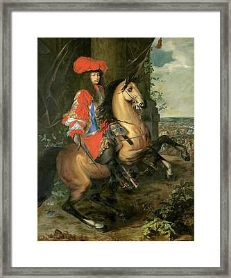 Equestrian Portrait Of Louis Xiv 1638-1715 Oil On Canvas Framed Print by Charles Le Brun