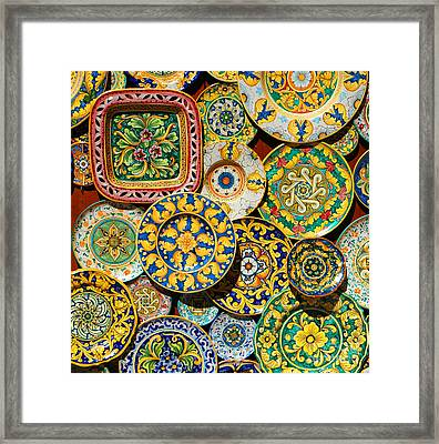 Erice Sicily Plates Yellow Framed Print by Mike Nellums