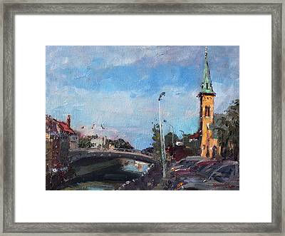 Erie Canal In Lockport Framed Print by Ylli Haruni