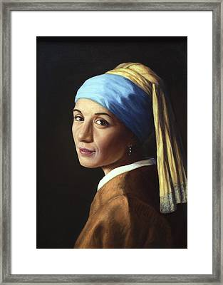 Erika With A Pearl Earring Framed Print by James W Johnson