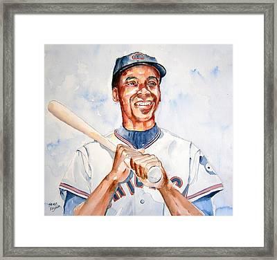 Ernie Banks Framed Print by Brian Degnon