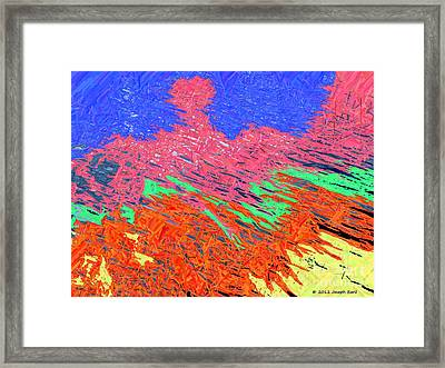 Erupting Lava Meets The Sea Framed Print by Joseph Baril