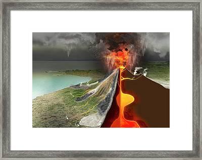 Eruption Of Mount Vesuvius Framed Print by Claus Lunau