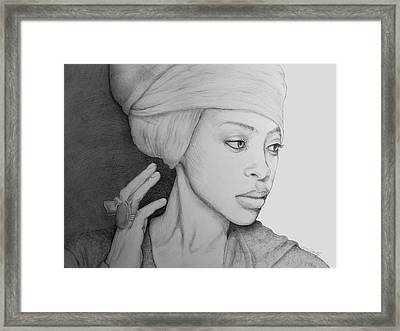 Erykah Badu Graphite On Museum Panel Framed Print by Tim Fogarty